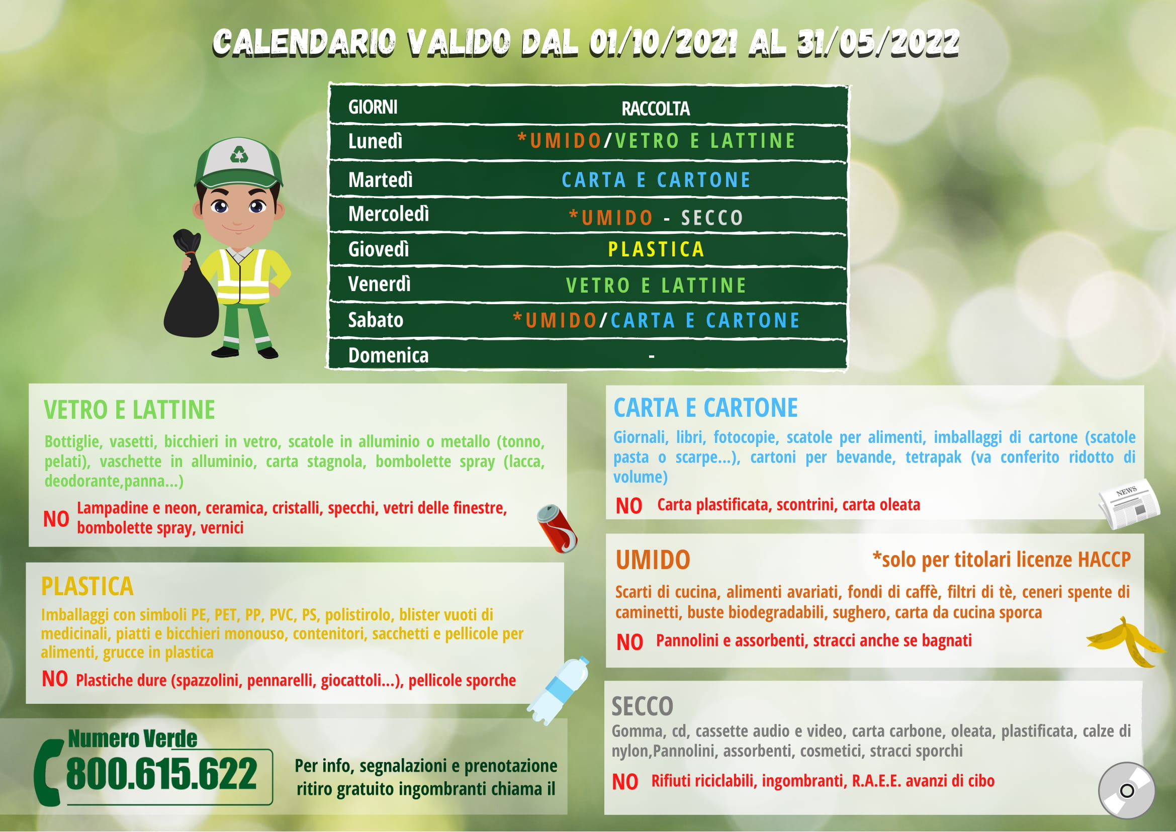 CALENDARIO INVERNALE RACCOLTA UND CARLOFORTE 2021-2022-2