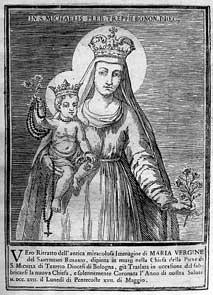 immagine di Maria ancora oggi venerata nella  chiesa di Treppio in una stampa del XVIII secolo